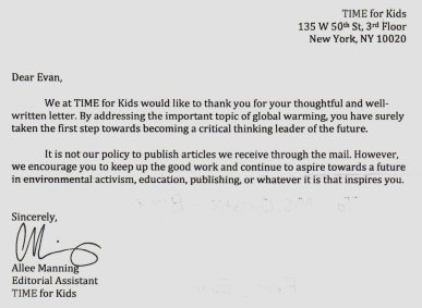 Evan TFK global warming letter