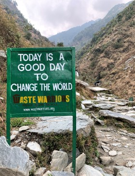 Sign on hiking trail, Himalayas, India