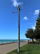 Wind turbine and solar panel on lamp, Australia