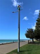 Wind turbine and solar panel on lamp, Australia