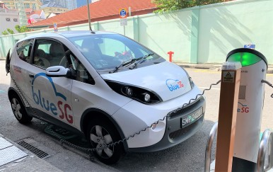 Electric car charging station, Singapore