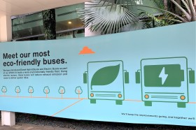 Sign about electric buses, Singapore