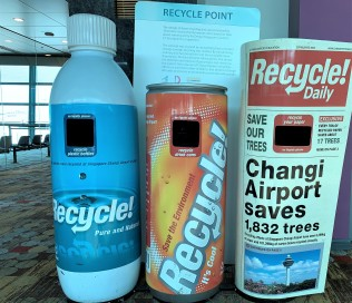 Recycling containers, Changi Airport, Singapore